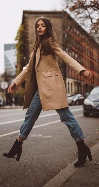 How to wear: camel coat, light blue boyfriend jeans, black suede ankle boots