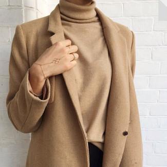 How to wear: camel coat, tan turtleneck, black skinny jeans