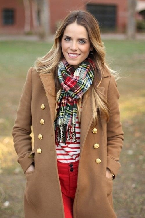 e976f8bc793f0 How to wear: camel coat, white and red horizontal striped crew-neck sweater Green  Plaid Scarf ...