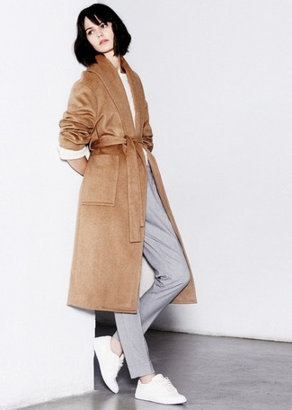 How to wear: camel coat, white cable sweater, grey dress pants, white leather low top sneakers