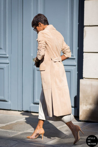 How to wear: camel coat, white midi skirt, tan leather pumps, brown leopard sunglasses