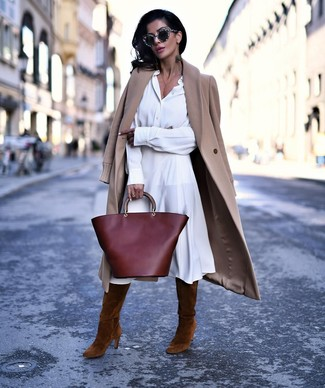 Brown Suede Knee High Boots Outfits: A camel coat and a white shirtdress matched together are a total eye candy for girls who prefer cool chic styles. Brown suede knee high boots look fabulous here.