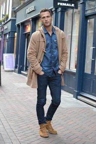 How to Wear Tan Suede Casual Boots For Men: Marrying a camel duffle coat and navy jeans is a guaranteed way to infuse style into your day-to-day routine. A pair of tan suede casual boots looks perfectly at home teamed with this ensemble.