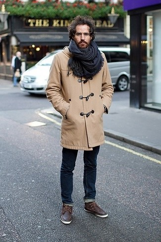 How to wear: camel duffle coat, navy skinny jeans, dark brown leather boat shoes, navy plaid scarf