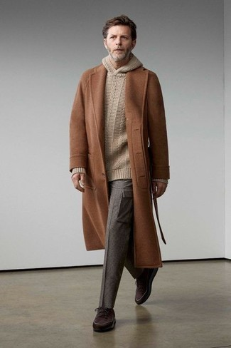 Beige Knit Hoodie Outfits For Men: For a casual and cool look, marry a beige knit hoodie with grey cargo pants — these two pieces go nicely together. A pair of dark brown canvas low top sneakers can instantly polish up this outfit.