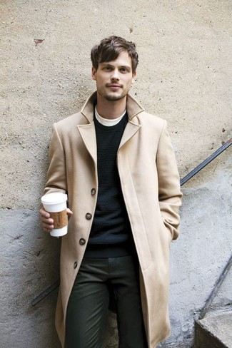Men's Camel Overcoat, Black Crew-neck Sweater, White Crew-neck T-shirt, Charcoal Chinos