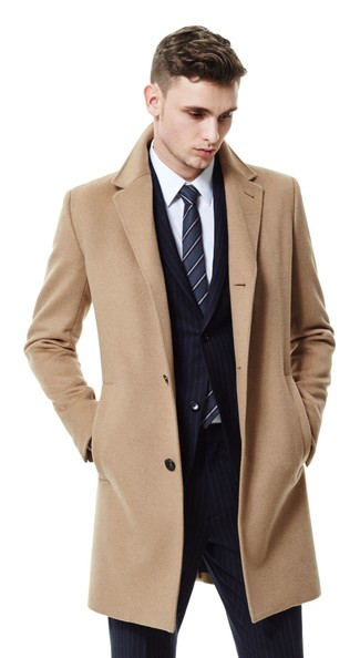 How to wear: camel overcoat, black vertical striped suit, white dress shirt, charcoal vertical striped tie