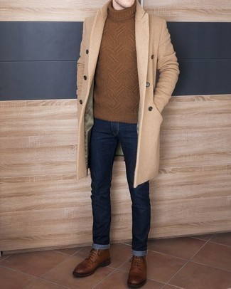 Navy Jeans Outfits For Men: If the dress code calls for an effortlessly sleek getup, pair a camel overcoat with navy jeans. A pair of brown leather casual boots can integrate seamlessly within many ensembles.