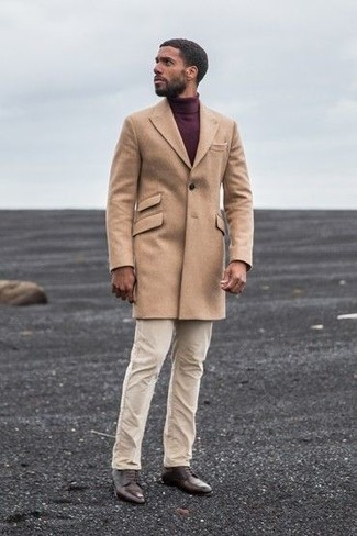 How to wear: camel overcoat, burgundy turtleneck, beige chinos, dark brown leather derby shoes