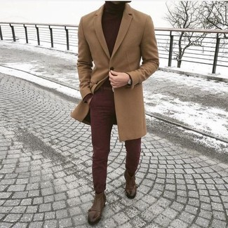 Effortlessly blurring the line between elegant and casual, this combo of a camel overcoat and burgundy chinos is likely to become one of your favorites. Play down the casualness of your outfit with brown leather chelsea boots. This getup is a pretty smart idea, especially for fall, when the temperatures are dropping.