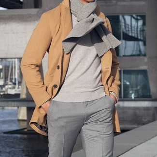 How to wear: camel overcoat, grey crew-neck sweater, grey dress pants, grey scarf
