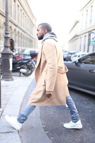 Camel overcoat grey hoodie light blue skinny jeans white high top sneakers large 3909