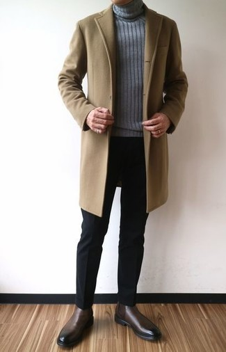 How to wear: camel overcoat, grey knit turtleneck, black dress pants, dark brown leather chelsea boots
