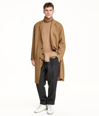 How to wear: camel overcoat, tan turtleneck, charcoal wool dress pants, white leather low top sneakers