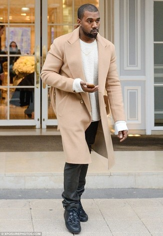 Kanye West wearing Camel Overcoat, White Crew-neck Sweater, Black Jeans, Black Leather High Top Sneakers