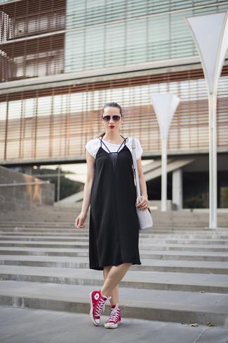 56aba63f8ba37 How to Wear a Black Silk Cami Dress (4 looks & outfits) | Women's ...