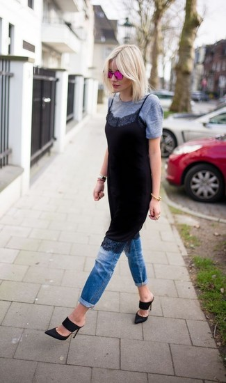 How to wear: black lace cami dress, grey crew-neck t-shirt, blue jeans, black suede mules