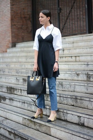 How to wear: black silk cami dress, white short sleeve button down shirt, blue jeans, black and tan leather pumps