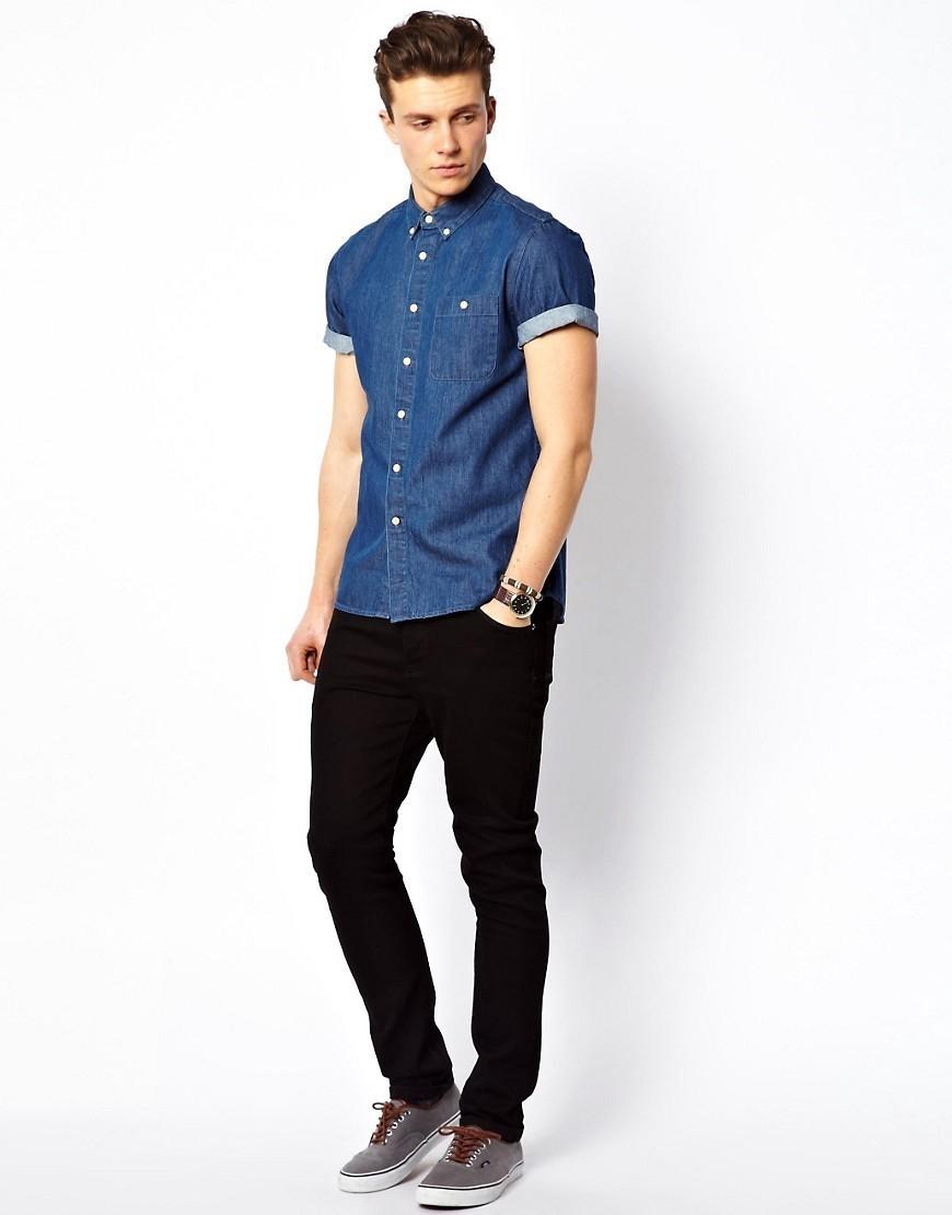 db68cd4e81293 Look de moda  Camisa de manga corta vaquera azul