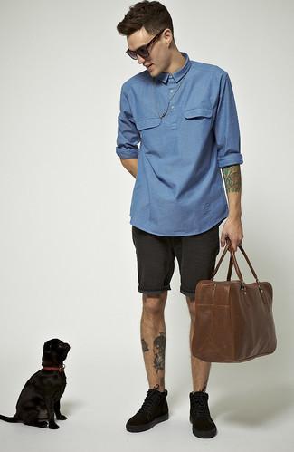 Camisa de manga larga de cambray azul de Drumohr