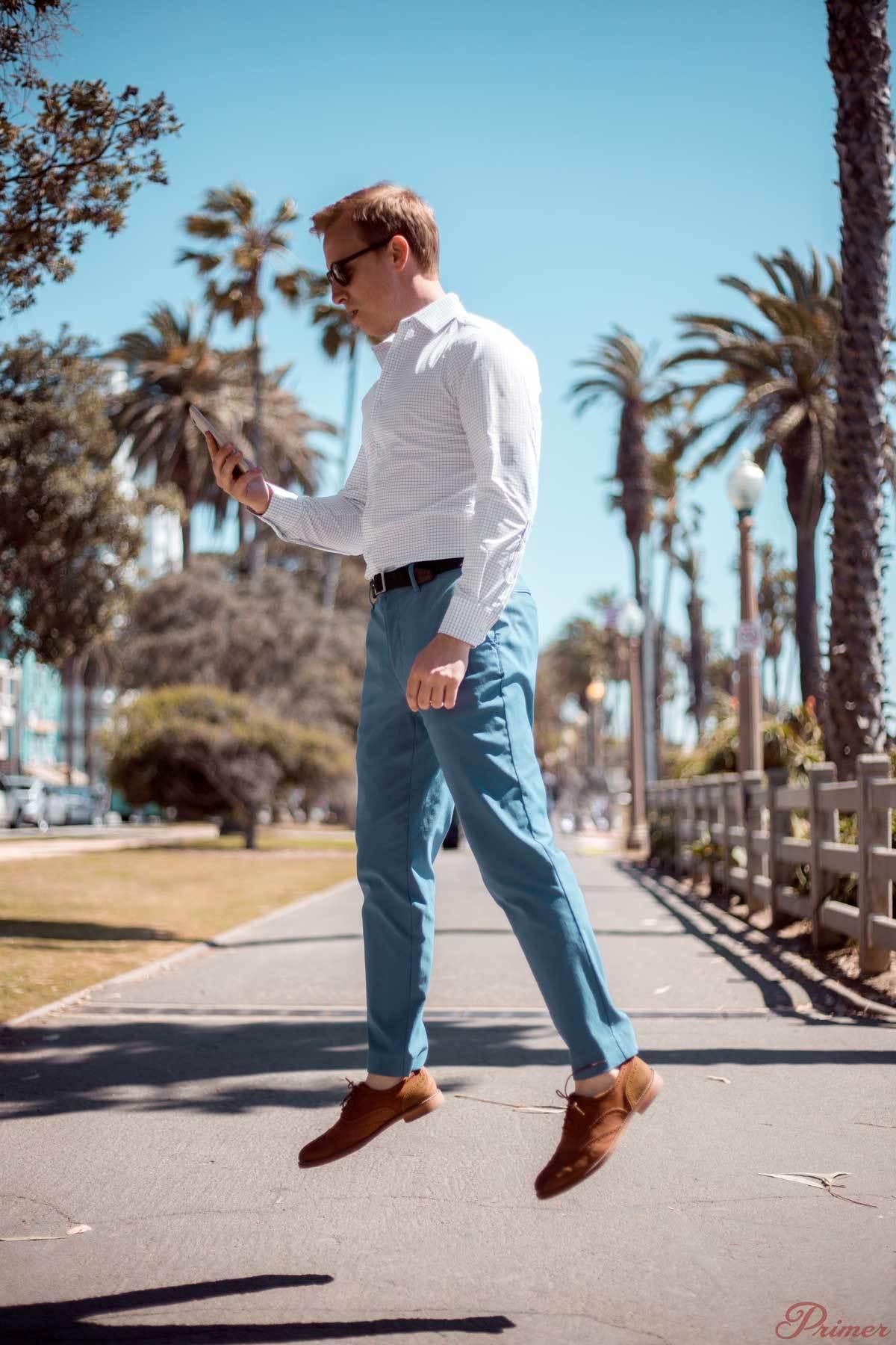 a Cómo larga chino de manga camisa cuadros combinar pantalón celeste zapatos blanca xXTXAqS