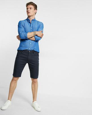 Camisa de manga larga de cambray azul de Dolce & Gabbana