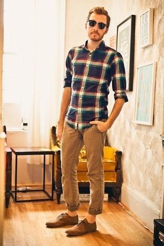 Este larga y camisa una en marino manga blanco de tartán combo y de de azul YrxfwqACr