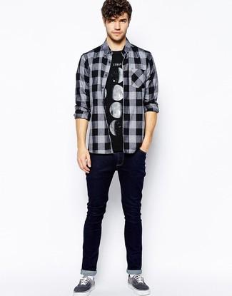 a1077775d3 ... hombres de 20 años Look de moda  Camisa de manga larga de franela a cuadros  negra