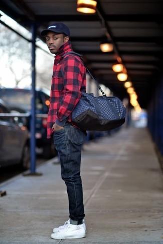 Moda para Hombres › Moda para hombres de 30 años Look de moda  Camisa de manga  larga de franela a cuadros en rojo y negro 61e17993ca28b