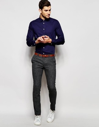 886a968c54dc1 ... Look de moda  Camisa de vestir azul marino
