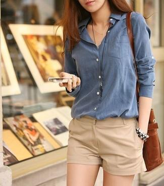 a900df9831 ... Look de moda  Camisa de vestir azul