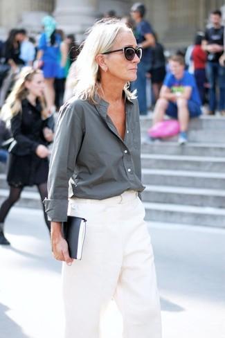 Pantalón de vestir blanco de Fabrizio Lenzi