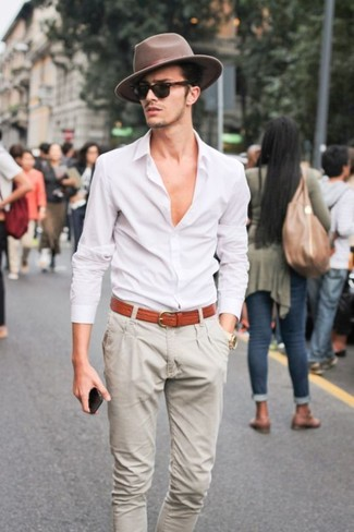 Camisa Look Chino Beige Pantalón De Vestir Blanca Moda En TxqEfxB
