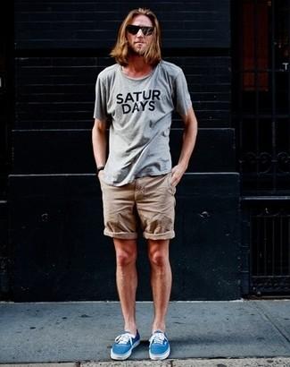 Camiseta con cuello circular estampada gris de Oamc