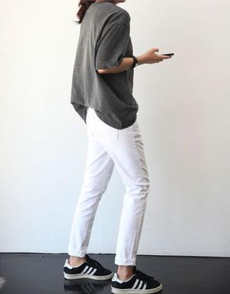 Camiseta con cuello circular gris de Current/Elliott