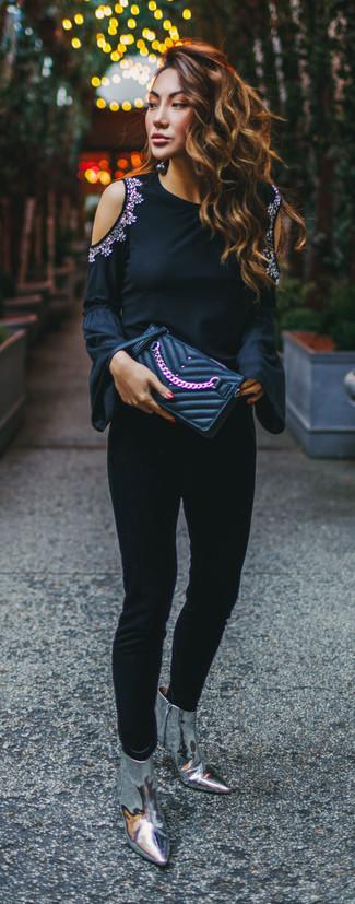 Botines de cuero plateados de Marc Jacobs