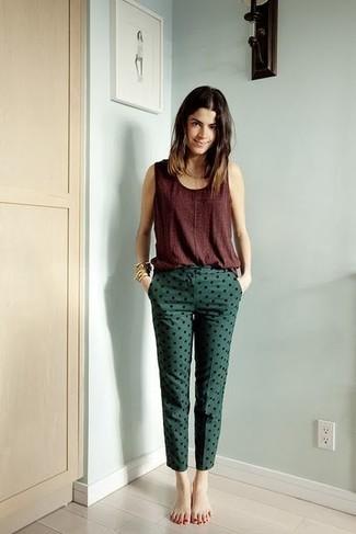 Casuale Oscuro Unos Cómo 3 Pitillo Pantalones Estilo Combinar Verde Owqg60
