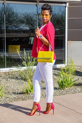 How to wear: hot pink cape blazer, white crew-neck t-shirt, white jeans, hot pink leather heeled sandals