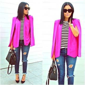 Women's Hot Pink Cape Blazer, White and Black Horizontal Striped Crew-neck T-shirt, Navy Ripped Skinny Jeans, Black Leather Pumps