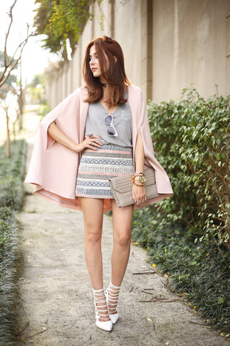 How to wear: pink cape blazer, grey v-neck t-shirt, grey geometric mini skirt, white leather heeled sandals