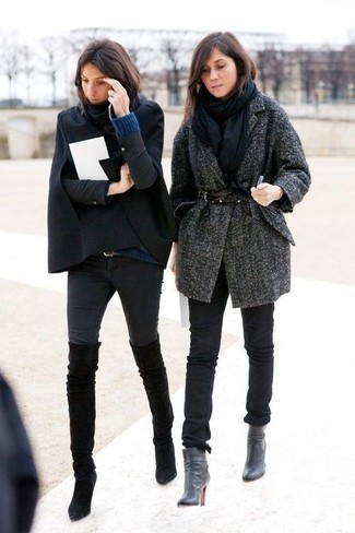 Try teaming a black cape coat with black slim jeans to create a chic, glamorous look. A pair of black suede over the knee boots will seamlessly integrate within a variety of outfits.