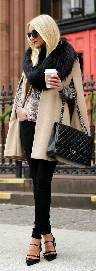 How to wear: camel cape coat, grey snake crew-neck sweater, black skinny pants, black cutout leather pumps