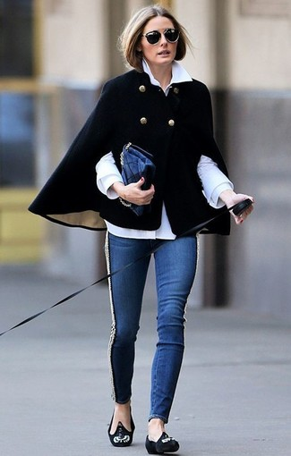 Olivia Palermo wearing Black Cape Coat, White Dress Shirt, Navy Skinny Jeans, Black Embellished Suede Loafers