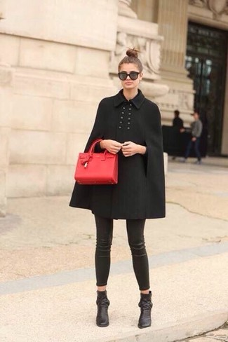 How to wear: black cape coat, black leather leggings, black leather ankle boots, red leather satchel bag