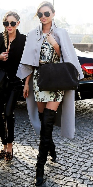 Miranda Kerr wearing Grey Cape Coat, Beige Print Sheath Dress, Black Suede Over The Knee Boots, Black Suede Tote Bag