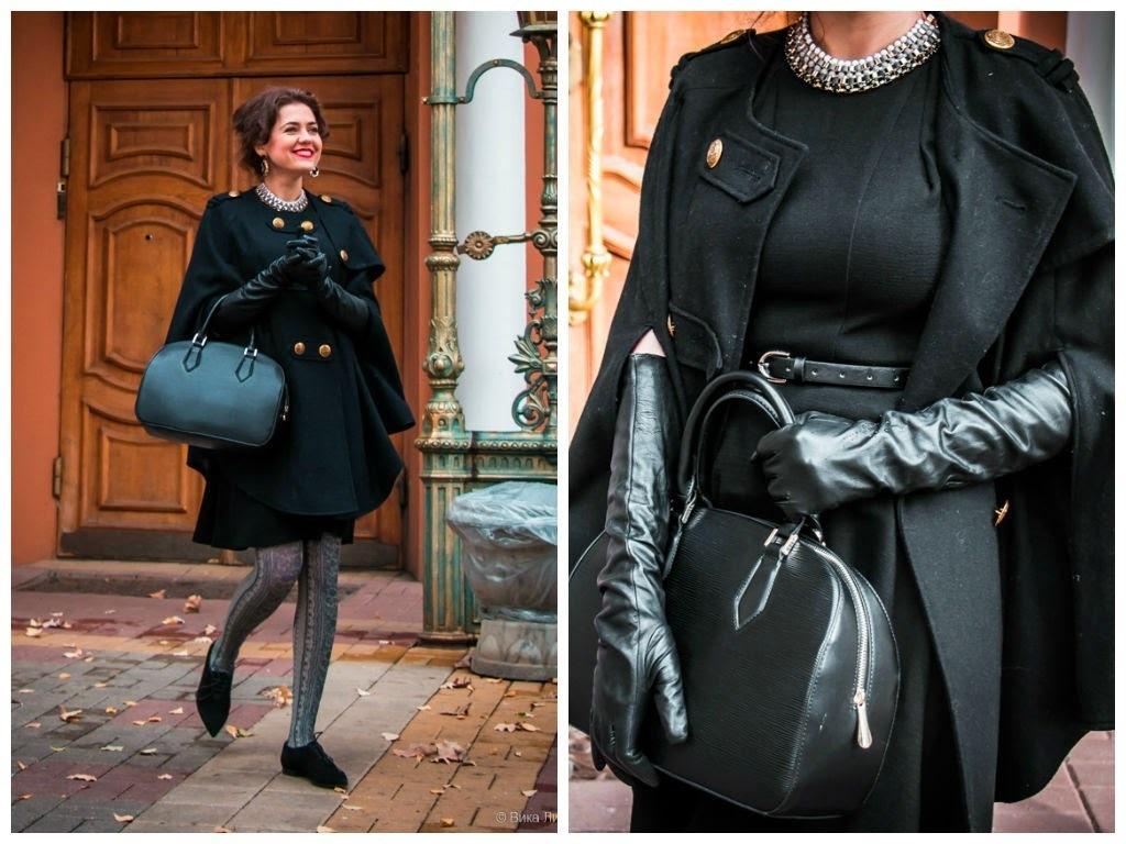 Images of Womens Black Cape Coat - Reikian