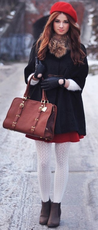 A black cape coat and a red pleated skirt is a versatile combination that will provide you with variety. Elevate your getup with dark brown suede booties.