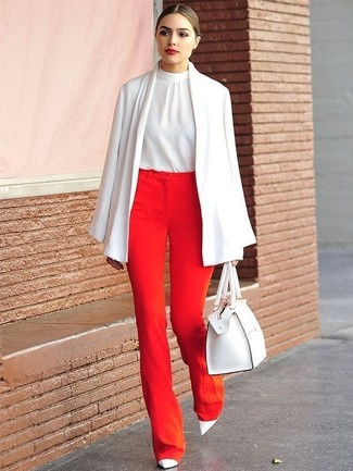 How to Wear a White Silk Sleeveless Top: Want to infuse your closet with some effortless cool? Pair a white silk sleeveless top with red wide leg pants. You could perhaps get a bit experimental in the shoe department and polish off your ensemble by wearing a pair of white leather pumps.