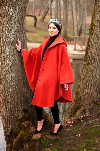 How to wear: red cape coat, black turtleneck, black leggings, black suede ballerina shoes