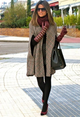 How to wear: brown check cape coat, black turtleneck, grey wool shorts, burgundy suede pumps